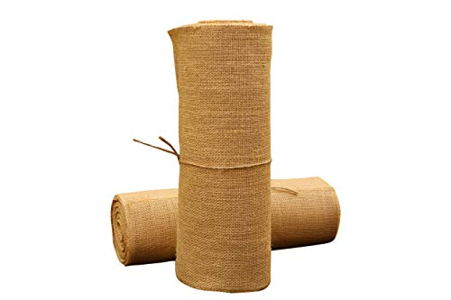 Eloine Linen Burlap Table Runner 14 inches x 10 Yards Burlap Roll - NO FRAY XL Jute Table Runner Vintage Wedding Decor for Christmas Easter Bridal Shower Thanksgiving -