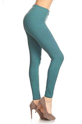 Leggings Depot Ultra Soft Basic Solid REGULAR 39 COLORS Best Seller Leggings Pants Carry 1000+ Print Designs (One Size (Size 0-12), Dark Seafoam)