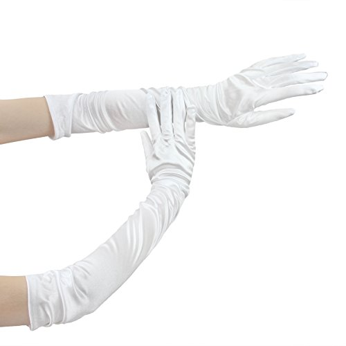 [Women Gloves, Ladies Elegant White Long Satin Gloves for Evening Prom Party Wedding] (Hen Night Costume Accessories)