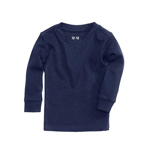 World Tee Cotton Organic (1212 Long Sleeve Tee - 100% Organic Pima Cotton - Lightweight Layering Shirt (4T, Navy))