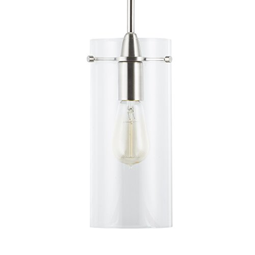 Island Nickel Light Kitchen (Effimero Large Hanging Pendant Light - Brushed Nickel w/Clear Glass - Linea di Liara LL-P315-BN)