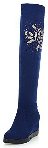 Aisun Donna Elegante Strass Punta Rotonda Tira Su Tacchi Alti Zeppa Piattaforma Sopra Gli Stivali Alti Al Ginocchio Blu