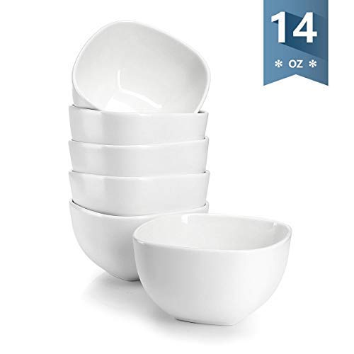 Sweese 1303 Porcelain Square Bowl Set - 14 Ounce Deep and Microwavable for Cereal, Soup and Fruit - Set of 6, White