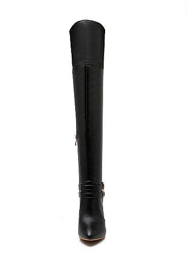 us8 Vestido La Uk6 Negro A Tacón Semicuero De Mujer Moda White Stiletto Botas Casual Zapatos Eu39 Xzz Puntiagudos Cn39 Blanco xCvwaR