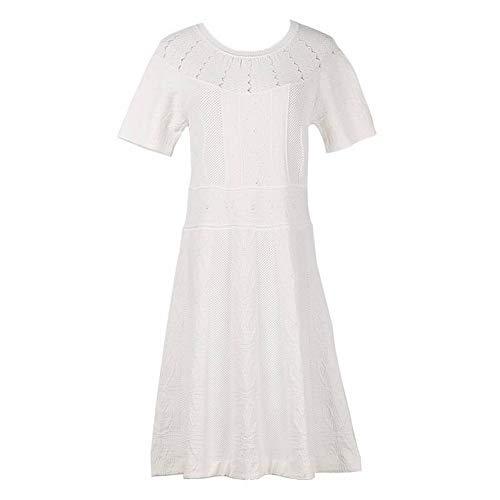Girocollo Maniche Katylen con Eleganti Raffinate Donna e Lunghe Alta bianca Righe Maglia a Verticali Vita in da a Abito qwxCPzq1g