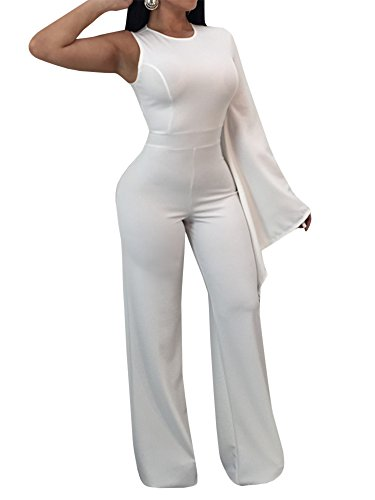 One Playsuit (YOMISOY Womens Elegant Jumpsuits Bodycon One Shoulder Wide Leg Party Playsuits Rompers Outfits)