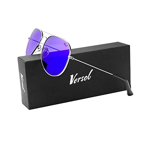 Versol Aviator Sunglasses for Men Women Polarized Metal Frame and UV 400 Protection 60mm - Premium Classic Style (Purple Mirror Lens+Silver)