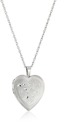 (Sterling Silver Heart Grandma Locket Necklace, 18