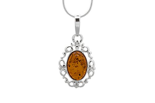 925 Sterling Silver Filigree Pendant Necklace with Genuine Natural Baltic Cognac Amber. Chain included