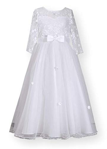 Bonnie Jean Girl's First Communion Dress with Bow and Daisy Embroidery (7) White ()