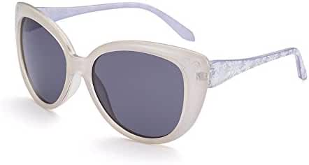 Naivo Women's YJMH092-1 Polarized Butterfly Ice Floral Design Retro Cat Eye's Sunglasses, Ivory