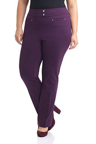 Rekucci Curvy Woman Secret Figure Knit Plus Size Straight Pant w/Tummy Control (20W,Deep Plum)