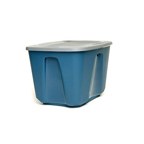 HOMZ 18 Gallon Eco Storage Container, Blue Base, Silver Lid, 4 Pack