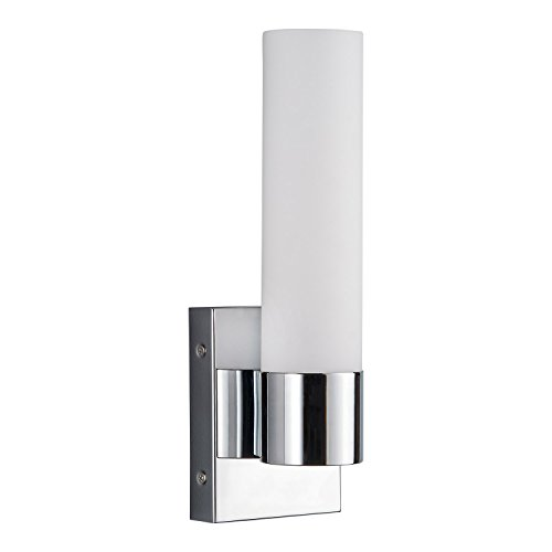 Perpetua LED Vanity Sconce Fixture Polished Chrome 15.5W Dimmable Warm Soft Light Frosted Glass 1300 Lumens 3000K Modern Bathroom Mirror Lighting - 13.5-inch high Linea di Liara LL-SC941-PC