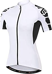 NUCKILY Women Cycling Jersey Short Sleeve Biking Shirts Ladies Bicycle Clothing Bike Jacket Tops Quick Dry wit