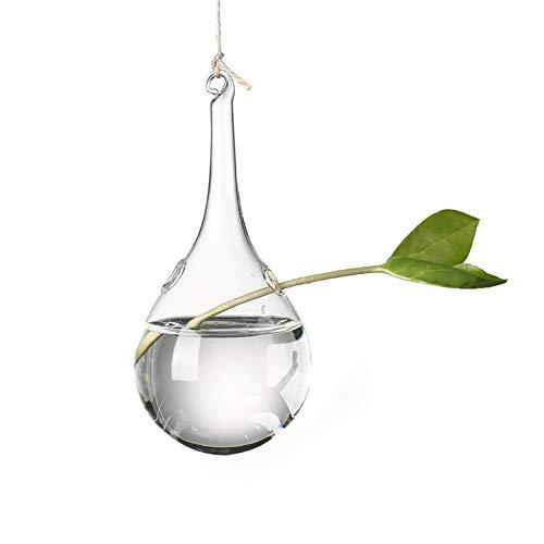 UUMIR Hydroponic Plant Vases,Ball Creative Garden Supplies Home Decoration Pot Hanging Terrarium Container Glass Vase(Water Droplets(16x8cm)) (Droplet Vase)