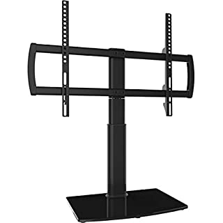 Universal Swivel TV Stand/Base Table Top TV Stand 32 to 65 inch TVs 80 Degree Swivel, 4 Level Height Adjustable, Heavy Duty Tempered Glass Base, Holds up to 99lbs Screens, HT04B-002U