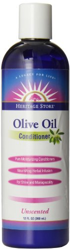 Heritage Store Hair Conditioner, Unscented Olive Oil, 12 Ounce