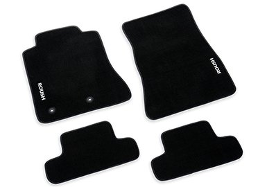 2015-2019 Mustang 4pc Black Floor Mats ROUSH Logo 421904
