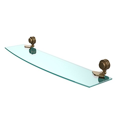 Allied Brass 433D/24-BBR Venus Collection 24 Inch Glass Shelf with Dotted Accents 24-Inch by 5-Inch Brushed Bronze ()
