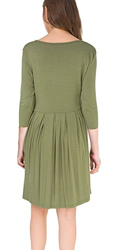 SouqFone Length Loose Pleated Knee T 2armygreen Casual with Shirt Dress Swing Women's Pockets SrSUqwB