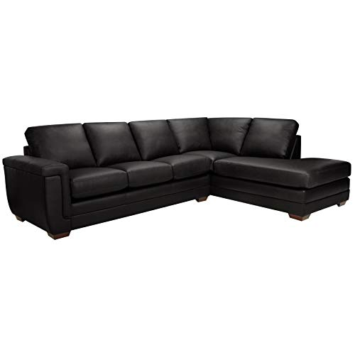 Sofaweb.com Porsche Top Grain Italian Leather Sectional Sofa Black ()