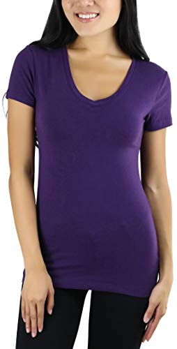 (ToBeInStyle Women's Short Sleeve V-Neck Basic T-Shirt - Dark Purple - XL)