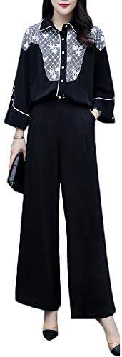 [해외]팬츠 드레스 여성 설치 느긋하게 바지 九分 소매 셔츠 와이드 팬츠 파티 드레스 결혼식 여성용 정장 상하 세트 정장 통근 검정 / Pants Dress Women`s Setup Loose Pants Suit Sleeve Shirt Wide Pants Party Dress Wedding Ladies Suit Up and Down...