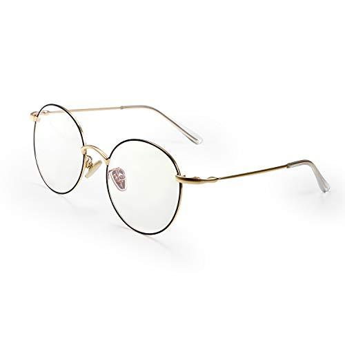Aroncent Vintage Round Blue Light Blocking Computer Glasses Anti Eye Fatigue with Transparent Lens ()