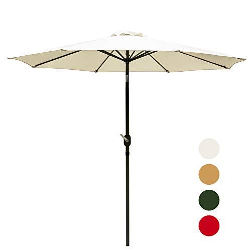 Outdoor Basic 9 Ft Patio Umbrella Aluminum Market Table Umbrella with Button Tilt and Crank Lift Beige