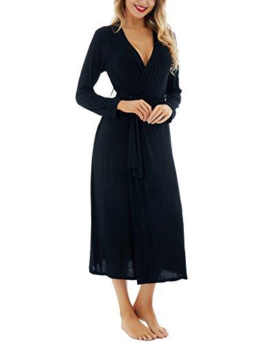 Le S vestono notte morbido modale Nero da cotone l'accappatoio di Kimono XXL da L'indumento donne Dromild lungo salotto HgqdBHw