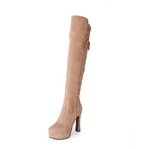 Dress Womens Resistant Suede Fashion Slip apricot SXC02312 Platform Boots AdeeSu 4vqx17ww