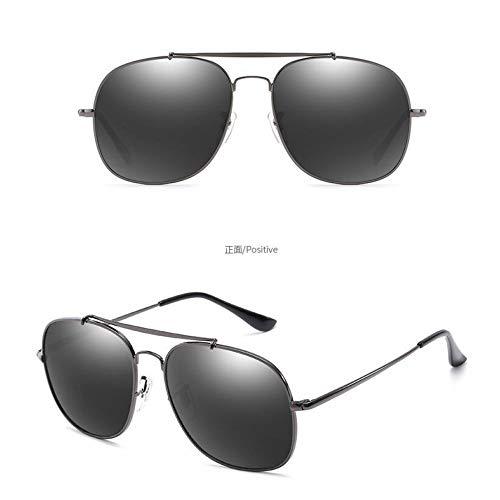 Sol de gray Pilotos conducción Dorado Hombres Personalidad Espejos Marco Gris Gafas de Gafas Completo polarizadas frame de Gafas Sol full Espejos metálicas de los Gun Retro de Burenqiq TnpEwq7ap