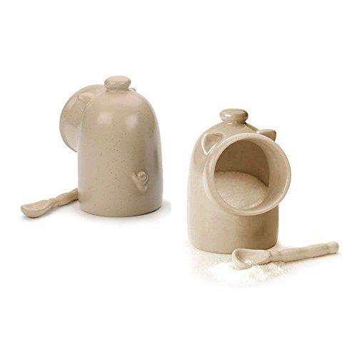 Rsvp Oatmeal Stoneware Salt Pig Shaped Keeper/server/dish/