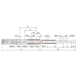 sortie totale 40 kg Longueur:550 mm TCASYSTEM Coulisse de tiroir /à billes