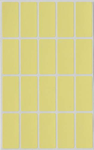 Royal Green Colored File Folder Labels 40mm x 19mm (1.57 inch x 0.75) - Rectangular Name tag Stickers in Pastel Yellow - 100 Pack