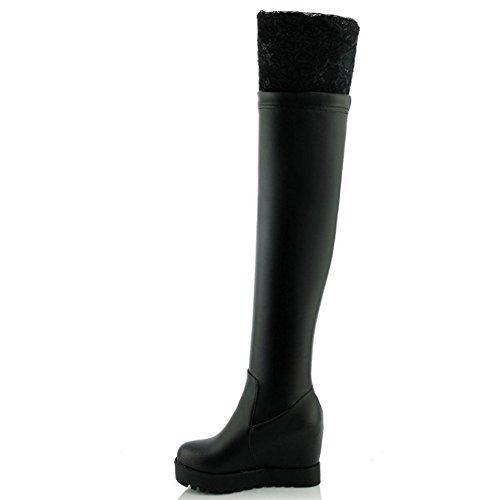 COOLCEPT Women Boots Pull On Black-2 8VVOjsRXr