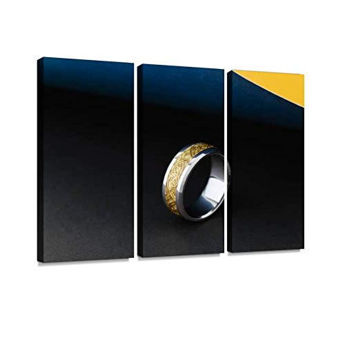 YKing1 Old and White Gold Ring with Pattern Covered with Enamel on Dark Background Wall Art Painting Pictures Print On Canvas Stretched & Framed Artworks Modern Hanging Posters Home Decor 3PANEL