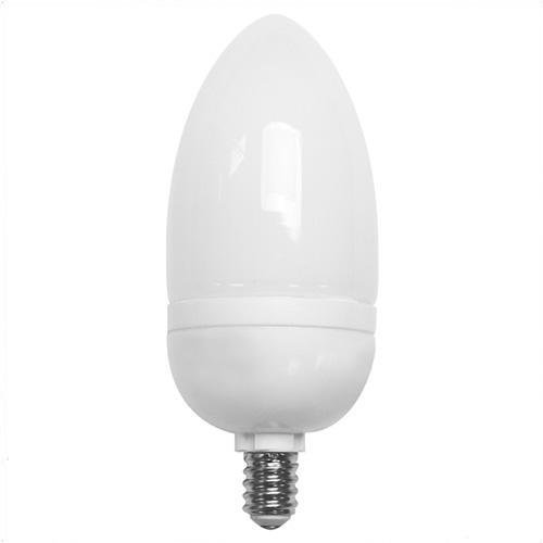 TCP Lighting - 10709C - Decorative Compact Fluorescent Torpedo Lamp - 9 Watt - Candelabra (E12) Base - 82 CRI - 2700K Warm ()