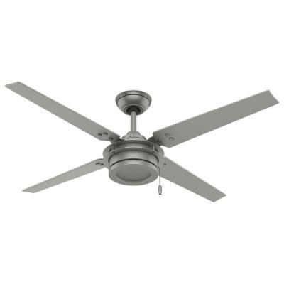 Hunter gunnar 54 in outdoor ceiling fan with whisper quiet outdoor ceiling fan with whisper quiet performance matte silver aloadofball Image collections
