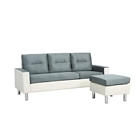0a8ac4e15e1 ELENA Canapé d angle réversible modulable en simili et tissu 3 places -  193x74-130x70 cm - Gris et blanc  Amazon.fr  Cuisine   Maison