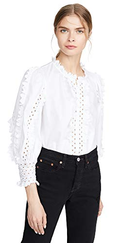 Rebecca Taylor Women's Long Sleeve Petal Embroidered Top, Milk, White, 4