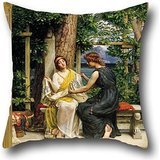 Oil Painting Sir Edward J. Poynter - Helena And Hermia Pillow Covers 20 X 20 Inches / 50 By 50 Cm Best Choice For Deck Chair,valentine,teens Girls,lover,bedroom With Double Sides