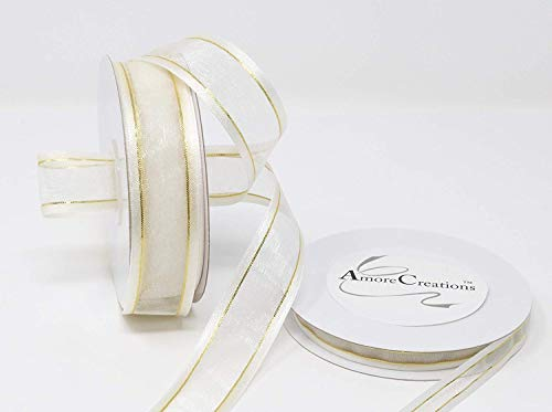 AmoreCreations 7/8 Inch x 25yds Organza Ribbon with Satin Trim for Wedding Baby Shower Gifts DIY Bows Craft Dancer Wands and More - Colors Guaranteed by AmoreCreations (White Ribbon Satin&Gold Trim) ()