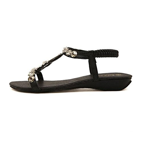 Binying Women's Bohemian Ankle Strap Diamond Flat Sandals Black 0kRMWw