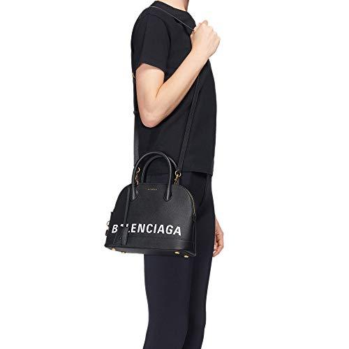 (Balenciaga Women's VILLE Top Handle Black Leather)