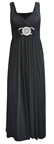 del negro delantera para mangas la parte hebilla la Sin longitud mujeres toda vestido en en con 4RCqO