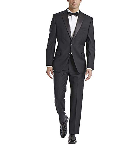 (Carlo Lusso Men's C67901 Slim fit Single Breasted 2 Button Front Notch Lapel Tuxedo Suit Set - Black - 38R)