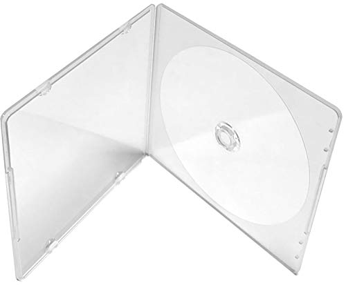 KEYIN Slim Single Clear PP Poly CD DVD Case, 100-Pack