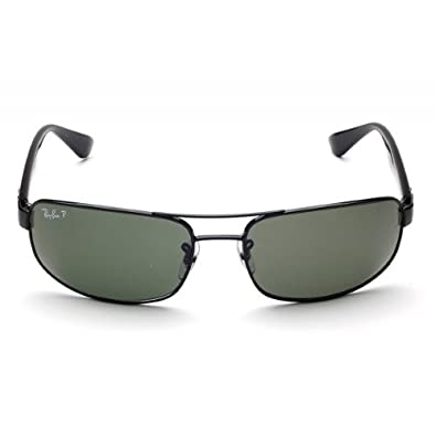 49d9e91646e Image Unavailable. Image not available for. Color  New Ray Ban RB3445 002 58  Black Crystal Green Lens 61mm Polarized Sunglasses